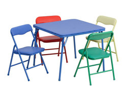 Flash Furniture - Flash Furniture Kids Colorful 5-Piece Folding Table and Chair Set - JB-9-KID-GG - This child sized folding table set is perfect for toddlers. Children can enjoy a table of their own for eating, reading, creating and playing. This table can be used outdoors so children can enjoy playtime outside or for a comfortable picnic setting. The easy to clean vinyl padded table top is great for toddler use. The padded colorful folding chairs are lightweight so children can easily transport their own chair. [JB-9-KID-GG]