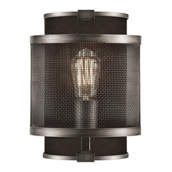 Fine Art Lamps - Relativity Sconce, 800550ST - If you've got an eye for the old and the new, this wall sconce will suit your style. You'll appreciate the mesh panels, antique hand-rubbed finish and early-20th-century filament bulb (included).
