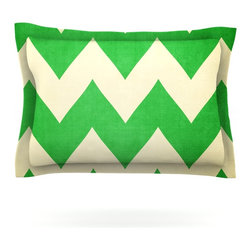 "Kess InHouse - Catherine McDonald ""Granny Smith"" Green Chevron Pillow Sham (Cotton, 30"" x 20"") - Pairing your already chic duvet cover with playful pillow shams is the perfect way to tie your bedroom together. There are endless possibilities to feed your artistic palette with these imaginative pillow shams. It will looks so elegant you won't want ruin the masterpiece you have created when you go to bed. Not only are these pillow shams nice to look at they are also made from a high quality cotton blend. They are so soft that they will elevate your sleep up to level that is beyond Cloud 9. We always print our goods with the highest quality printing process in order to maintain the integrity of the art that you are adeptly displaying. This means that you won't have to worry about your art fading or your sham loosing it's freshness."