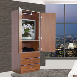 Hanging Designer Wardrobe Closet w/ 2 Doors, 3 Full-Extension Exterior Sliding D - An elegant, freestanding wardrobe, the 455 offers a sleek yet stylish addition to any space. It is simple yet spacious, a luxurious home furnishing hand-crafted with unparalleled dedication and expertise. No detail is left unattended on this gorgeous wardrobe that shines like the custom closet of a king.