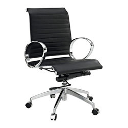 LexMod - Ribbed office Chair in Black Leather - Regarded as one of the most iconic designer office chairs of the modern classics, this piece adds weight and poise to your office. With superior comfort as well as style, this chair is worthy of its fame and perfect for the discerning business.