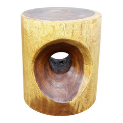 Kammika - Peephole 16 inch D x 18 inch Ht Sust Wood w Eco Friendly Livos Walnut Oil Finish - Our Sustainable Monkey Pod Wood Peephole 16 inch Diameter x 18 inch Height with Eco Friendly Natural, Food-safe Livos Walnut Oil Finish End Table presents a large oval curve carved into both sides of the round surface with a round through hole to create a peephole effect. This piece can serve as an end table, display stand, or stool; they can also serve as a serving table or bench when put together. Each is hand carved; no two are alike. Carved from a single piece of Monkey Pod wood and finished with Livos Walnut Oil, they are appealing to the viewer from any angle. Each piece is more than a piece of furniture - it is a Work of Eco Friendly Functional Art! Craftspeople from the Chiang Mai area in Northern Thailand create these pieces with the simplest of tools. After each Monkey Pod Wood (Acacia, Koa, Rain Tree grown for wood carving) piece is kiln dried, carved and sanded, it is hand rubbed in Livos Walnut oil that is polished to a matte finish. Color ranges from medium to dark Walnut brown tones that will darken as the wood ages. These natural oils are translucent so the wood grain detail is highlighted. There is no oily feel and cannot bleed into carpets as it contains natural lacs. This eco friendly piece is made from the thick branches of the quick-growing Acacia tree in Thailand - where each branch is cut and carved to order (allowing the tree to continue growing). No chemicals are used in the process, ever. This item is packaged with cartons from recycled cardboard with no plastic or other fillers. As this is a natural product, the color and grain of your piece will be completely unique, and may include small checks or cracks that occur when the wood is dried. Sizes are approximate. Products could have visible marks from tools used, patches from small repairs, knot holes, natural inclusions, and/or worm holes. There may be various separations or cracks on your piece w