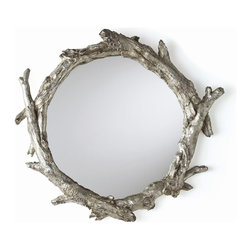 "Arteriors - Oakley Mirror - You're following bread crumbs, trying to find your way out of the dark decorating forest. And then you spy it, that perfect piece that marries natural form with modern elegance. This mirror's circle of silver-leafed ""branches"" will guide your way home."