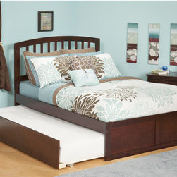 """Atlantic Furniture - Urban Lifestyle Richmond Bed with Trundle - The sleek bowed style and traditional slats compile a classic look for the Richmond. The open head rail design promotes a vertical synergy that will mate nicely with any room setting. Features: -Urban lifestyle collection. -Rubberwood construction. -Eco-Friendly. -With flat panel footboard. -Painted furniture may also utilize CARB certified low formaldehyde MDF produced from plantation-grown hardwood. -Sturdy dowel, bolt and barrel nut assembly. -Accepts bed drawers or trundle bed. -Tools needed for assembly: Phillips screwdriver. Specifications: -Full Dimensions: 44.5"""" H x 55.88"""" W x 77"""" D. -Queen Dimensions: 44.5"""" H x 62.63"""" W x 82.5"""" D."""