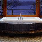 Bamboo Stone Mosaic - Bamboo natural stone mosaic bathroom rug in Emperador Dark and Verde Luna.