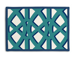 "Teal Trellis Tailored Placemat Set - Class up your table's act with a set of Tailored Placemats finished with a contemporary contrast border. So pretty you'll want to leave them out well beyond dinner time! We love it in this oversized outdoor modern trellis in teal & blue. phew?""_""""_""""__no pruning needed!"