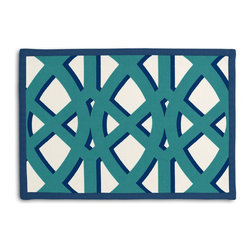 "Teal Trellis Tailored Placemat Set - Class up your table's act with a set of Tailored Placemats finished with a contemporary contrast border. So pretty you'll want to leave them out well beyond dinner time! We love it in this oversized outdoor modern trellis in teal & blue. phew?""_''_no pruning needed!"