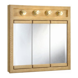 Design House - Richland 4-Light Tri-View Wall Cabinet - Bulbs not included. Uses four 60 watt ...