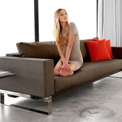 "Innovation USA - ""Innovation USA"" Cassius Sleek Dark Khaki Sofa Bed - A comfortable convertible sofa with styling, the""Innovation USA"" Cassius Sleek Dark Khaki Sofa Bed changes from sofa to a fully reclined bed. Combination of high quality steel frame and dark khaki upholstery offers supreme comfort and style.    Features:"