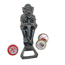 """EttansPalace - Hobgoblin Beer Cast Iron Bottle Opener - We created the menacing grin of this patron of hobgoblins for a friend who wanted a fellow powerful enough to hold court over everything from full-bodied English malt beers to more benign malt shop pop! Hand-crafted , and using the time-honored sand cast method, this collectible hand-held figurine is hand-painted in vintage faux bronze. 2""""W x 1""""D x 6""""H. 1 lb."""