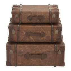 In Vogue Wood Polyurethane Leather Case, Set of 3 - Description: