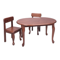 "Gift Mark - Gift Mark Home Kids Natural Hardwood Queen Anne Oval Table And Chair Set Cherry - Our Oval Queen Anne Table and Chair Sets are sure to delight and become the centerpiece of any child's room. Intended specifically for your child, they will excitedly play for hours on these fine tables in Classic Queen Anne Design. Our Oval Queen Anne table measures 36""L X 24""W X 21""H. The Height of The Chair is 24 1/2, The seat Left to Right is 12 1/2, and the Front to Back is 11 3/8. The Height of the Chair Seat is 13 inches."