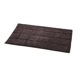 Prestige Cotton Bath Rug Andrea Chocolate - This prestige cotton bath rug Andrea is 100% cotton. Ultra-soft, deep, and inviting, this bath mat is a rug you can luxuriously sink your toes in and will give a sophisticated look to any bathroom. This beautiful bath rug features an eye-catching square pattern. It provides a soft, cushioned feel, shock absorption and is durable. Manufacturer recommends using a nonskid pad beneath the rug (not included). Hand wash and no dryer. Indoor use only. Width 20-Inch and length 31.5-Inch. Color chocolate. Enhance your bathroom decor with this handsome prestige bath rug and add an understated elegance to your space. Imported.