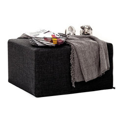 NYFU - Squeezebox Ottoman Bed - Anthracite - Enjoy two items in one with this compact ottoman that transforms into a cushy twin bed. This modern multi functional ottoman folds out into a sleeper bed. It has a natural grey tone and the fabric soft and incredibly comfortable. This foldout ottoman is great for unexpected guests, small spaces, and urbanites that love multi purpose furniture.