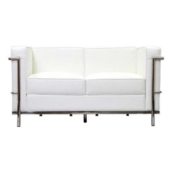 Modway - LC2 Leather Loveseat in White - Urban life has always a quandary for designers. While the torrent of external stimuli surrounds, the designer is vested with the task of introducing calm to the scene. From out of the surging wave of progress, the most talented can fashion a forcefield of tranquility. Perhaps the most telling aspect of the LC2 series is how it painted the future world of progress. The coming technological era, like the externalized tubular steel frame, was intended to support and assist human endeavor. While the aesthetic rationalism of the padded leather seats foretold a period that would try to make sense of this growth. The result is an iconic sofa series that became the first to develop a new plan for modern living. If previous generations were interested in leaving the countryside for the cities, today it is very much the opposite. If given the choice, the younger generations would rather live freely while firmly seated in the clamorous heart of urbanism. The LC2 series is the preferred choice for reception areas, living rooms, hotels, resorts, restaurants and other lounge spaces.