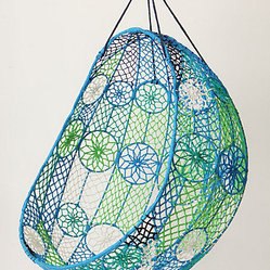 Knotted Melati Hanging Chair, Blue Motif