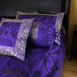 Luxurious & Decorative Bedding Sets - King Size 7-piece bedding set. Painted by hand in India. Purple color. Soft, luxurious Dupion silk fabric.