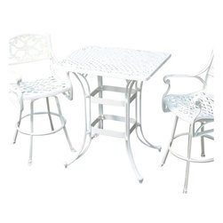 Home Styles - Home Styles Biscayne Rectangular Outdoor Bistro Table in White - Home Styles - Patio Bistro Tables - 555236 - Create an intimate conversation area with Home Styles' Biscayne Space Saving Rectangle Bistro Table. Constructed of cast aluminum in a UV resistant powder-coated white finish sealed with a clear coat for protection; the high top table features a top that is designed specifically to prevent damage caused from pooling by allowing water to pass through freely. Other features include 2-inch umbrella hole and adjustable nylon glides to prevent damage to surfaces caused by movement and provide stability on uneven surfaces. This table is made with stainless steel hardware and is perfect for small area places such as balconies.
