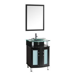 Contento Vicente Bathroom Vanity, 24, Without Mirror - A lovely vanity that takes a contemporary twist on baroque furniture. Little details such as slightly octangular shaped storage, cubby hole storage underneath the counter and basin, a clear glass basin and a wide mirror really make this ensemble great for those looking to not just update their bathroom, but keep it classic.