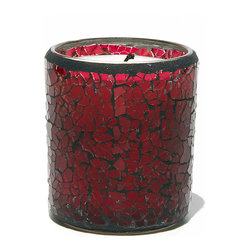 Everybody's Ayurveda - Reuseable Crackle Glass Namaste Ayurvedic Candle - Red - This tridoshic fragrance promotes gratitude and helps maintain dosha balance. 100% soy wax Ayurvedic Candle. 6 oz. Made in the USA. 3.25 in. Tall x 3 in. Diameter. Approximate burn time is 28 hours. Reusable glass becomes a candle holder after use.