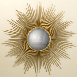 "Global Views - Global Views Gold Sunburst Mirror - Complementing the glamour of Hollywood Regency style, this vintage-inspired gold sunburst mirror from Global Views bounces light around the room while doubling as wall decor. 39.5"" Dia.; Brass; Convex mirror center; Gold leaf finish; Hang on a keyhole"
