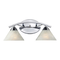 Elk Lighting - Elk Lighting 17021/2 Elysburg 2-Light Vanity in Polished Chrome - 2-Light Vanity in Polished Chrome belongs to Elysburg Collection by The Geometric Lines Of This Collection Offer Harmonious Symmetry With A Sophisticated Contemporary Appeal. A Perfect Complement For Kitchens, Billiard Parlors, Or Any Area That Requires Direct Lighting. Featured In Satin Nickel With White Marbleized Glass Or Aged Bronze Finish With Tea Stained Brown Swirl Glass. Sconce(1)