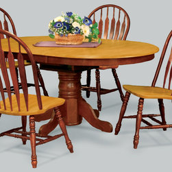 """Sunset Trading - 5-Pc Eco-Friendly Oval Dining Set - Includes one extension table and four large arrow back chairs. Sturdy quality craftsmanship. light oak top and chair seat. Table:. Solid handcrafted hardwood. Classic and timeless, and with the memories made. One self-storing 12 in. butterfly leaf. Other self Storing 18 in. butterfly leaf converts from 54 in. L to 66 in. L. Pedestal base with adjustable feet. Chair:. Large Windsor style chair with curved, comfort back and scooped seat. Nutmeg finish. Made in Malaysia. Table assembly required. Chair: 22 in. W x 20.5 in. D x 41 in. H (18 lbs.). Table:. Minimum: 54 in. L x 42 in. W x 30 in. H. Maximum: 66 in. L x 42 in. W x 30 in. H. Weight: 88.27 lbs.This beautifully designed furniture supplied by Sunset Trading will assure you many years of use and enjoyment. Welcome guests into your home with a touch of country comfort with this piece from the Sunset Trading - Sunset Selections Collection. Whether it's casual """"coffee and conversation"""", everyday dining, holidays or special occasions, memories are guaranteed to be made when family and friends gather around this versatile dining table. Warm and inviting, the classic beauty and craftsmanship of this dining tables makes it equally appropriate for your kitchen or dining room fulfilling all your formal and informal dining needs. Pair this table with your choice of Sunset Selections arm and side chairs not included to appropriately complete your informal or formal dining space. This relaxed dining piece will bring warmth and comfort to your home for years to come!"""
