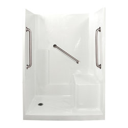 "Ella's Bubbles - Ella Standard Plus 24 Low Threshold Shower 60""W x 33""D x 77""H, Right Hand Seat - The Ella Standard Plus 24, (3-Piece) 60 in. x 32 in. Low Threshold Shower is manufactured using premium marine grade gel coat fiberglass which creates a smooth, beautiful, long lasting surface with anti-slip textured shower base floor. Ella Standard Plus 24 Low Threshold Shower walls are reinforced with wood providing flexibility for the grab bar installation at needed height for any size bather. The integral self-locking aluminum Pin and Slot System allows the shower walls and the pre-leveled shower base to be conveniently installed from the front. Premium quality material, no need for drywall or extra studs for fixture support, 30 Year Limited Lifetime Warranty (on shower panels) and ease of installation make Ella Low Threshold Shower the best option in the industry for your bathtub replacement or modification needs. The Ella Standard Plus 24 Low Threshold Showers come with three (3) 24 inch satin finish straight stainless steel grab bars (not installed to allow for custom positioning). They also have a low 4 inch threshold, spacious 21 inch high molded in seat, 2 inch chrome strainer brass drain with friction seal for easy drain installation and integrated molded soap ledges."