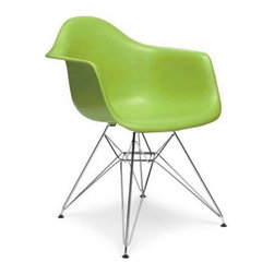 Ariel - Eames Style DAR Green Dining Armchair w/ Steel Eiffel Legs - Featuring a seat shell can be joined with a variety of different bases, the Eames Style DAR Molded Plastic Dining Armchair with Steel Eiffel Legs is the perfect addition for the dining area or home office. Can be used with seat and back cushions for added comfort. Available in multiple colors.