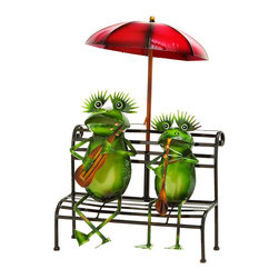 Benzara - Outdoor Decor Practicing Musician Garden Frogs - There's nothing more adorable than a couple of amphibian musicians, like these frogs jamming together under an umbrella, the perfect statue for your garden or interior decor. Made with bright green tin alloy, these amphibians are the perfect little musicians to handle your next party. Enjoy watching your frogs at the very edge of the garden or next to a pond of water.