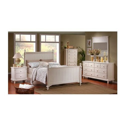 Homelegance - Pottery 5-Pc Panel Bedroom Set (Queen) - Choose Size: QueenSolid wood construction makes this classic cottage style five-piece bedroom set an excellent choice.  Breadboard panel bed is available in optional sizes, and like the matching case pieces features turned spindle feet.  Pure white finish will brighten any room. Includes bed, chest, dresser, mirror and nightstand. Two drawers nightstand. Eight drawers dresser. Rectangular shape mirror. 2 in. thick mirror frame. Metal glide. Made from select hardwoods and veneers. White finish. Nightstand: 26 in. W x 16 in. D x 27 in. H. Dresser: 66 in. W x 18 in. D x 35 in. H. Mirror: 42.5 in. W x 49 in. H. Chest: 36 in. W x 18 in. D x 53 in. H. Headboard: 57.5 in. H. Footboard: 36 in. H