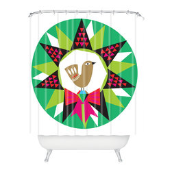 DENY Designs - DENY Designs Zoe Wodarz Geo Pop Wreath Shower Curtain - Who says bathrooms can't be fun? To get the most bang for your buck, start with an artistic, inventive shower curtain. We've got endless options that will really make your bathroom pop. Heck, your guests may start spending a little extra time in there because of it!