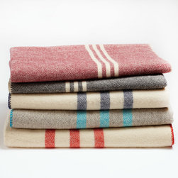 """Coyuchi - Coyuchi Striped Wool Blanket - This cozy Coyuchi blanket pairs irresistible comfort with classic style. Woven from Canadian wool, this super soft throw features slim colorful stripes for a lasting accent. Available in throw (46""""W x 60""""L) and full/queen; Available in several colors; Whipstitched edges; Machine washable"""