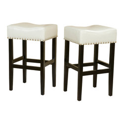 Great Deal Furniture - Chantal Leather Stools (Set of 2), Ivory Bar Height - These comfortably soft ivory bonded leather bar stools are a perfect transitional piece from your kitchen to your living room. Studded accents are featured along the edges of the seat and the black metal kickplate gives this stool a contemporary look