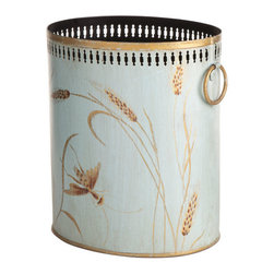 Wheat Tole Wastebasket - This elegant little tole wastebasket is delicately handpainted with wild grasses and insects, then finished off at the rim with pretty punchwork. Tole was made popular in the 18th century and is the folk art of decorative painting on every day household objects. This would truly go to waste hiding under a desk.