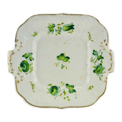 Lavish Shoestring - Consigned Green Flowers Gilded Serving Plate, Antique English, circa 1820 - This is a vintage one-of-a-kind item.