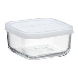 Mini Square Bowl with Lid - The perfect in-between size for prep and leftovers, this versatile glass bowl squares off in durable glass with a tight-fitting white plastic lid.