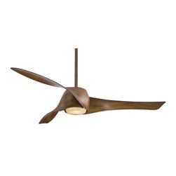 Minka Aire - Artemis Fan - Artemis Ceiling Fan has Tinted Opal glass with Copper Bronze and Distressed Koa  or Opal glass with Transparent, Distressed Koa, Copper Bronze, High Gloss Black, High Gloss Red, High Gloss White, Maple, Mahogany, Silver, or Liquid Nickel. Artemis has a 188mm x 25mm motor and 58 inch Blade Span. Three speed wall control with full range light and reverse function and cap for non-light use are included. One 3.5 and one 6 inch down rods are included. One 100 watt, 120 volt T4 type Minican base halogen bulb is included. UL listed. 58 inch width x 12 inch height.