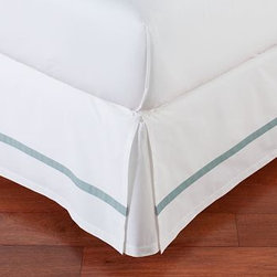 Morgan Banded 400-Thread-Count Bed-Skirt, King, Dark Porcelain Blue - Our Morgan bed skirt finishes the bed with exceptional softness and tailored style. It features a single solid stripe that edges the crisp white ground. Made of pure cotton. 400-thread count. Machine wash. Imported.