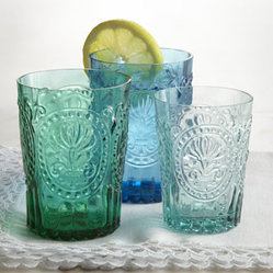 'Fleur-de-Lis' Glassware - I love the color and texture on these glasses. I would use them as drinking glasses or as votive holders down the center of a long table. Just add a little water to the bottom of each glass so that wax won't stick (learned that one the hard way).