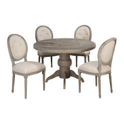 Jofran Burnt Grey 5 Piece 48 Inch Round Dining Room Set w/Oval Back Side Chair