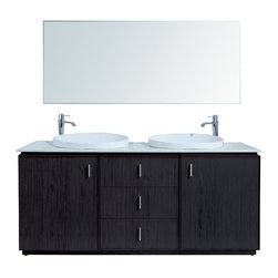 "Stufurhome - 72"" Cheshire Double Sink Vanity with Faux - Regal and imposing, the 72"" Cheshire Double Sink Vanity brings European ambiance to your master bath. The rich espresso finish is emboldened by the cabinet. Dimensions: 72 in. x 22 in."
