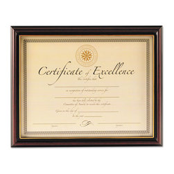 DAX - DAX Document Frame, Rosewood, 10 x 12 1/2 - Two-tone black and rosewood document frame with beautiful gold accent lip to acknowledge personal achievements. 8 1/2 x 11 includes a two-way easel back with hangers for desktop or wall display. 11 x 14 has hangers for wall display and is double matted with off-white over black mat. Includes a usable certificate. Versatile vertical or horizontal display.