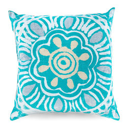 Aqua Outdoor Pillow - Vibrant and alive with visual movement, the Aqua Outdoor Pillow uses an ink-painting style with uneven lines and soft, cloudy fields of color to give your furnishings softness for the eye as well as the hand. Taupe and grey accents make this bright pillow especially lovely with weathered woods or with traditional materials like woven wicker.