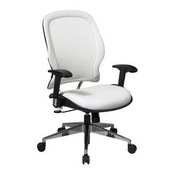 Space - Vinyl Managers Chair w Adjustable Arms - Thick padded contour seat and air grid back with built-in lumbar support. One touch pneumatic seat height adjustment. 2-to-1 syncro tilt control with adjustable tilt tension. Height adjustable angled arms with soft PU pads. Chrome finished angled base with oversized dual wheel carpet casters. Adjustable lumbar. 27.75 in. W x 27.75 in. L x 45 in. H