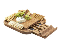 Picnic at Ascot - Malvern Cheese Board Set - The Malvern cheese board set has unique features that make it great for parties. This beautiful bamboo wood entertainer has a high capacity cracker serving tray around the entire cheese board and a hidden drawer that stores the stainless steel and bamboo cheese tools. Lifetime Warranty.