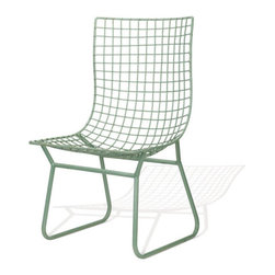 The Edie Chair - What do you get when you cross the classic silhouette of an Adirondack chair with the modern appeal of graphed wire? Our Edie Chair, of course. In classic mint, the Edie is equally at home lounging in a living room as in a solarium or on a covered porch. Paired with a pouf, the Edie is the perfect lounger- and with its powder-coated steel construction, this chair is built to last.
