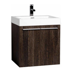 """CBI - 22.75"""" Bathroom Vanity Set Dark Oak Finish TN-T580-1-DO - A spacious one basin vanity is a chic addition to any decor. Ideal for anyone looking for a winning combination of style, sleek design and size that brings it all together to present something dashingly urban. Featuring BLUM soft-closing hinges, you'll never hear a door slam shut again. Constructed of white man-made stone counter, a high quality MDF cabinet in  Dark Oak finish."""