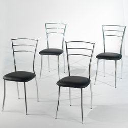 Simple Living - Simple Living 'Mabel' Dining Chairs (Set of 4) - Upgrade your dining experience by purchasing this set of metal dining chairs. This set of four chairs features a ladder-back design and a sleek metal finish. Black faux-leather upholstery is sure to complement the decor of any modern dining room.