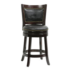 "Boraam - Boraam 24"" Bristol Swivel Stool in Cappuccino - Boraam - Bar Stools - 42824 - The Bristol Swivel Counter Stool by Boraam Industries is composed of solid hardwood and engineered to perfection. The seat and back of this counter chair are padded with high density foam and upholstered in bonded leather with decorative nail head trim. Each leg of this pub height chair has a strategic flare design that provides durability and balance to those who sit. Additionally, the steel swivel plate features full ball bearing designs for an effortless 360-degree turn! A metal kick plate over the entire footrest protects against scuffs."